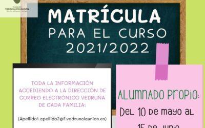 Abierto el PROCESO DE MATRÍCULA para el curso 2021/2022